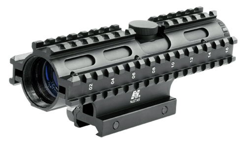 4X32 COMPACT SCOPE/3 RAIL SIGHTING SYSTEM MIL-DOT/BLUE/WEAVER